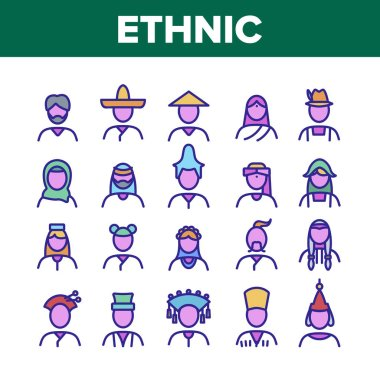 Ethnic World People Collection Icons Set Vector. Chinese And Indian, Cossack And Kazakh, Indian And Japanese, Georgian And Arab Ethnic Human Concept Linear Pictograms. Color Contour Illustrations icon
