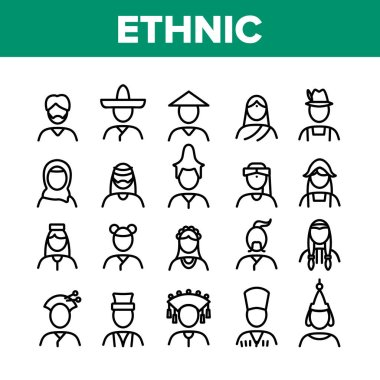 Ethnic World People Collection Icons Set Vector. Chinese And Indian, Cossack And Kazakh, Indian And Japanese, Georgian And Arab Ethnic Human Concept Linear Pictograms. Monochrome Contour Illustrations icon