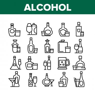 Alcohol Drink Bottles Collection Icons Set Vector. Tequila And Cognac, Vodka And Beer, Whiskey And Champagne Alcohol Beverage Concept Linear Pictograms. Monochrome Contour Illustrations icon