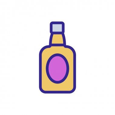 Bottle of whiskey icon vector. Thin line sign. Isolated contour symbol illustration icon