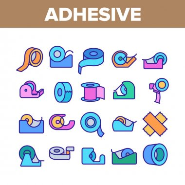 Adhesive Tape Scotch Collection Icons Set Vector. Medicine Plaster Bandage, Roll Adhesive Tool, Office Stationery Sticky Reel Concept Linear Pictograms. Color Contour Illustrations icon