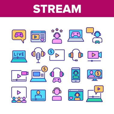 Stream Live Video Collection Icons Set Vector. Internet Online Play Game Stream, Earphones And Microphone, Streaming Web Site Concept Linear Pictograms. Color Illustrations icon