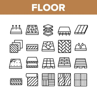 Floor And Material Collection Icons Set Vector. Parquet And Carpet, Laminate And Marble, Linoleum Roll And Waterproof Floor Concept Linear Pictograms. Monochrome Contour Illustrations icon