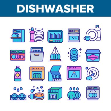 Dishwasher Utensil Collection Icons Set Vector. Dishwasher Equipment And Cleaning Liquid Bottle For Wash Dishware Cup And Plate Concept Linear Pictograms. Color Illustrations icon