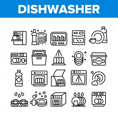 Dishwasher Utensil Collection Icons Set Vector. Dishwasher Equipment And Cleaning Liquid Bottle For Wash Dishware Cup And Plate Concept Linear Pictograms. Monochrome Contour Illustrations icon
