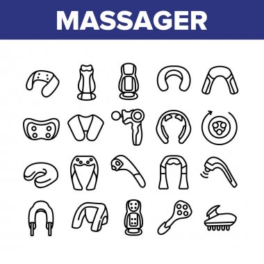 Shoulder Massager Collection Icons Set Vector. Body And Foot Massager Equipment For Relaxation, Electric Wearable Pulse Neck Device Concept Linear Pictograms. Monochrome Contour Illustrations icon