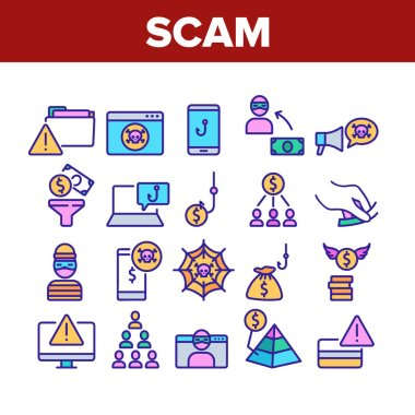 Scam Finance Criminal Collection Icons Set Vector. Internet And Mobile Phone Scam, Computer Screen And Folder, Dollar Banknote And Coin Concept Linear Pictograms. Color Illustrations icon