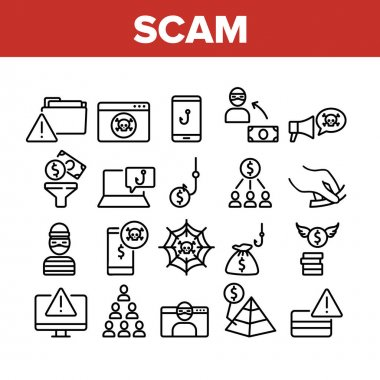 Scam Finance Criminal Collection Icons Set Vector. Internet And Mobile Phone Scam, Computer Screen And Folder, Dollar Banknote And Coin Concept Linear Pictograms. Monochrome Contour Illustrations icon