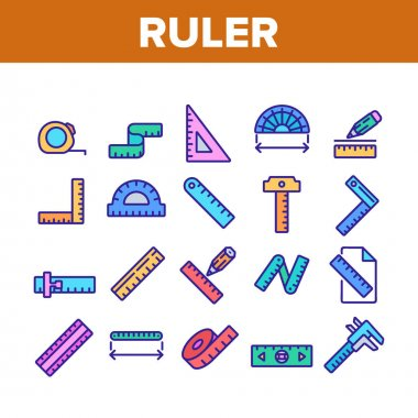 Ruler Measuring Tool Collection Icons Set Vector. Ruler Math, Geometry Stationery Engineer Equipment For Measurement, Tape And Roulette Concept Linear Pictograms. Color Illustrations icon