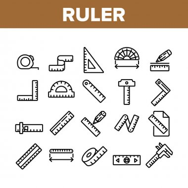 Ruler Measuring Tool Collection Icons Set Vector. Ruler Math, Geometry Stationery Engineer Equipment For Measurement, Tape And Roulette Concept Linear Pictograms. Monochrome Contour Illustrations icon