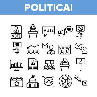 Political Election Collection Icons Set Vector. Political Candidate Speaking On Tribune, Government Building And Loudspeaker Concept Linear Pictograms. Monochrome Contour Illustrations icon