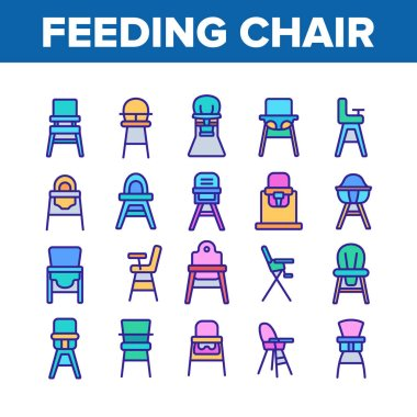 Feeding Baby Chair Collection Icons Set Vector. Childhood Dinner Chair, Furniture Stool With Table For Feed Toddler Child Concept Linear Pictograms. Color Illustrations icon