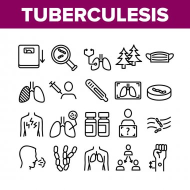 Tuberculosis Disease Collection Icons Set Vector. Healthy Lungs And With Tuberculosis, Facial Mask And Scale, Pills Bottle And Fir-trees Concept Linear Pictograms. Monochrome Contour Illustrations icon