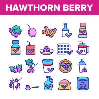 Hawthorn Berry Food Collection Icons Set Vector. Hawthorn Syrup And Juice, Beverage And Fresh Drink, On Plate And Bottle Package Concept Linear Pictograms. Color Illustrations icon