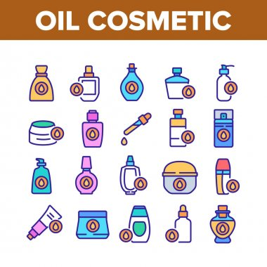 Oil Cosmetic Skin Care Collection Icons Set Vector. Essential Aromatic Oil Container And Bottle, Package And Pipette, Aromatherapy Concept Linear Pictograms. Color Illustrations icon