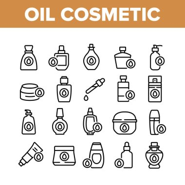 Oil Cosmetic Skin Care Collection Icons Set Vector. Essential Aromatic Oil Container And Bottle, Package And Pipette, Aromatherapy Concept Linear Pictograms. Monochrome Contour Illustrations icon