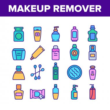Makeup Remover Lotion Collection Icons Set Vector. Cosmetic Makeup Remover Cotton And Stick, Tube And Container, Spray And Bottle Concept Linear Pictograms. Color Illustrations icon