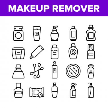 Makeup Remover Lotion Collection Icons Set Vector. Cosmetic Makeup Remover Cotton And Stick, Tube And Container, Spray And Bottle Concept Linear Pictograms. Monochrome Contour Illustrations icon