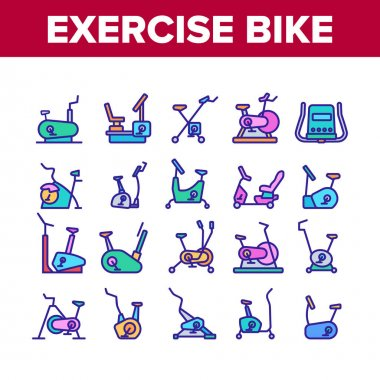 Exercise Bike Sport Collection Icons Set Vector. Bike Sportive Equipment, Gym And Fitness Physical Training Health Activity Tool Concept Linear Pictograms. Color Illustrations icon