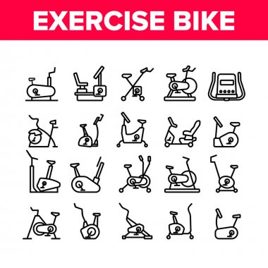 Exercise Bike Sport Collection Icons Set Vector. Bike Sportive Equipment, Gym And Fitness Physical Training Health Activity Tool Concept Linear Pictograms. Monochrome Contour Illustrations icon