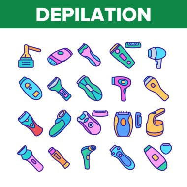 Depilation Equipment Collection Icons Set Vector. Epilator Depilation Electronic Device Accessory And Hot Wax For Hair Epilation Concept Linear Pictograms. Color Illustrations icon