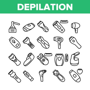 Depilation Equipment Collection Icons Set Vector. Epilator Depilation Electronic Device Accessory And Hot Wax For Hair Epilation Concept Linear Pictograms. Monochrome Contour Illustrations icon