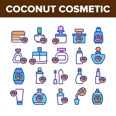 Coconut Cosmetic Pack Collection Icons Set Vector. Coconut Cream Packaging Bottles And Containers, Oil Drop And Lipstick Concept Linear Pictograms. Color Illustrations icon