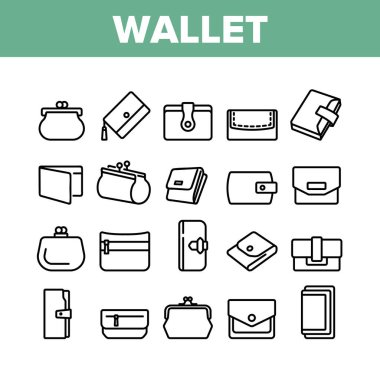 Wallet Accessory Cash Collection Icons Set Vector. Wallet In Different Style For Storaging Money And Coin, Credit Card And Document Concept Linear Pictograms. Monochrome Contour Illustrations icon