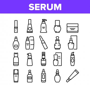 Serum Beauty Cosmetic Collection Icons Set Vector. Serum Skin Care Cream And Perfume, Face Gel And Lotion Package And Container Concept Linear Pictograms. Monochrome Contour Illustrations icon