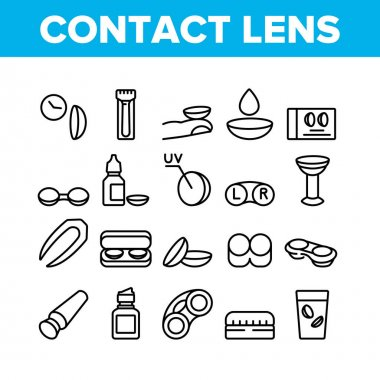 Contact Lens Accessory For Vision Icons Set Vector. Contact Lens Package And In Glass With Liquid, Bottle With Dropper And Medicine Concept Linear Pictograms. Monochrome Contour Illustrations icon