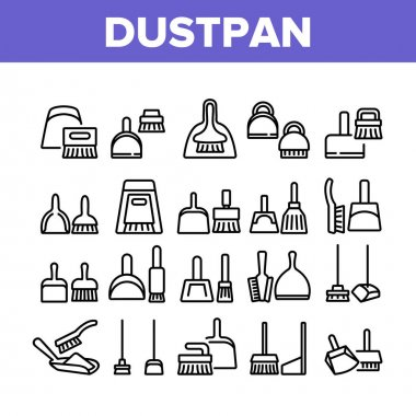 Dustpan And Brush Tool Collection Icons Set Vector. Dustpan And Broom For Cleaning Dust Equipment, Sweeping Housework Cleaner Concept Linear Pictograms. Monochrome Contour Illustrations icon