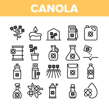Canola Agricultural Collection Icons Set Vector. Canola Agriculture Flower Field And Pot, Oil And Spray, Greenhouse And Seeds Concept Linear Pictograms. Monochrome Contour Illustrations icon