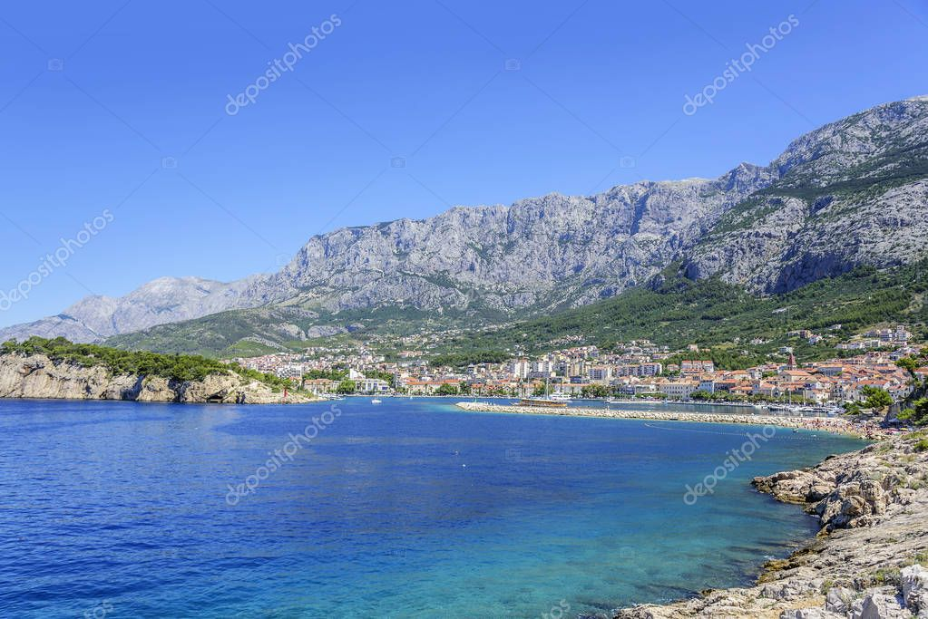 View of the port of the resort town of Makarska in the summer day.