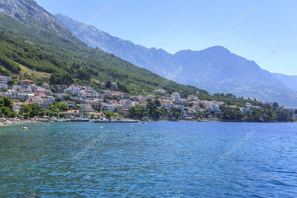 View of the coastline of the beaches in the resort town of Brela in Croatia.