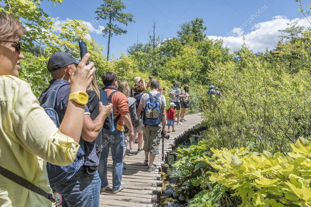 Groups of tourists photograph the beauty of the Plitvice Lakes on a summer day.