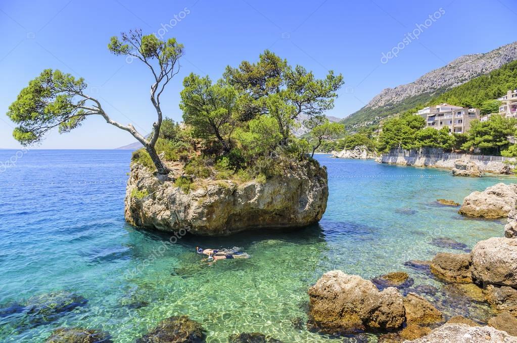 Paradise island in the blue sea. Croatia.
