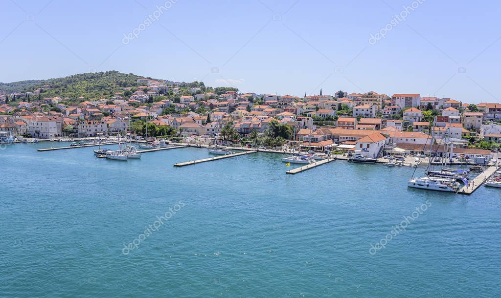 View of the port and embankment from the fortress of the city of Trogir.