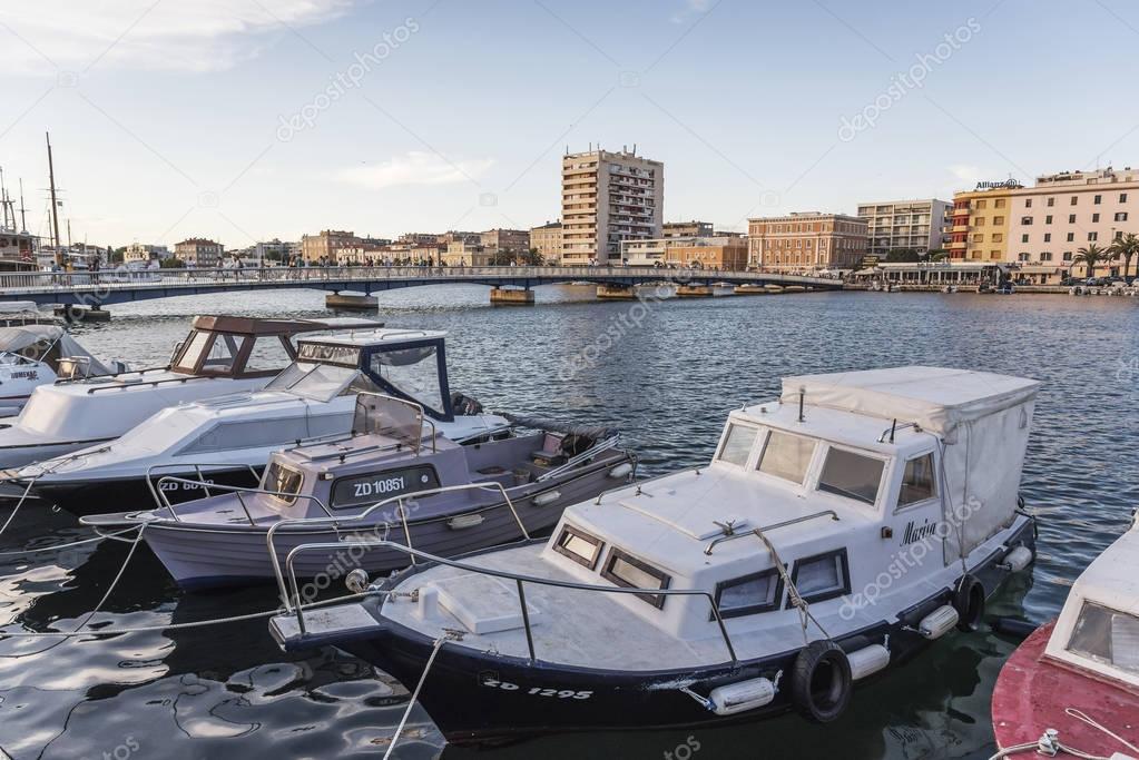 Boats on the pier in the resort town of Zadar, Croatia.
