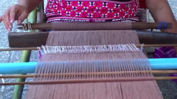Woman Karen Tribal Weaving.