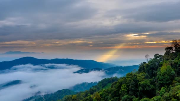 (4k) Time lapse, Landscape of Morning mist in the weather season at Doi Mon Ngo viewpoint, Mae Tang, Chiang Mai province, north of Thailand.
