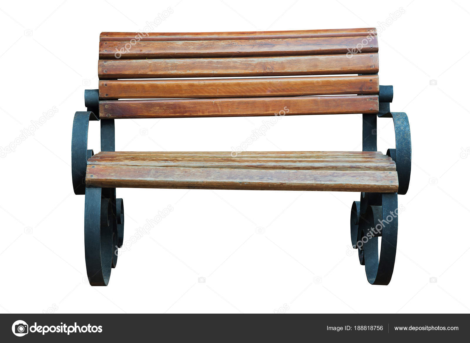 Old Wooden Bench With Steel Legs Isolated. U2014 Stock Photo