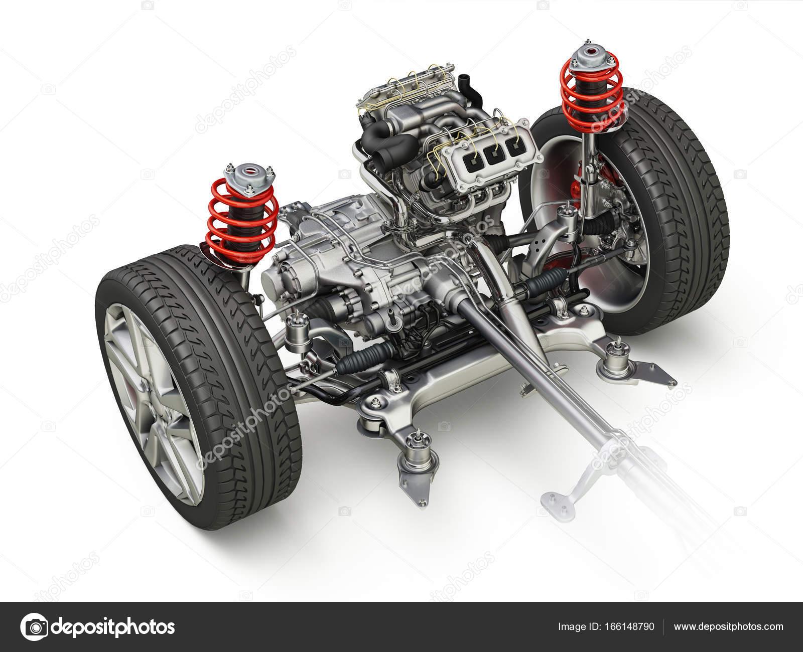 SUV-Auto unter Beförderung technische 3-D Darstellung. Vorderteil ...