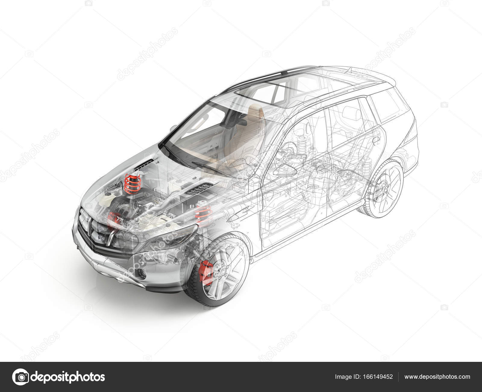 Suv voiture d taill e en coupe morphing au dessin r aliste - Voiture 3d dwg ...