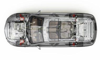 Suv detailed cutaway 3D rendering. Top view.