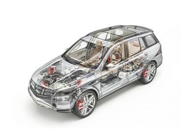 Generic Suv car detailed cutaway 3D rendering. Hard look.