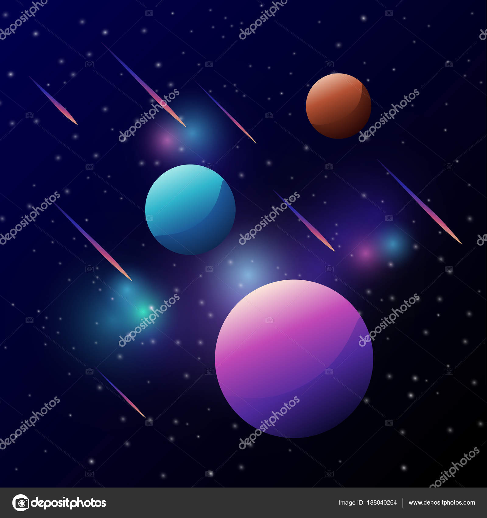 Universe Space Colorful Planet Meteor Dark Sky Galaxy Stars Stock Vector