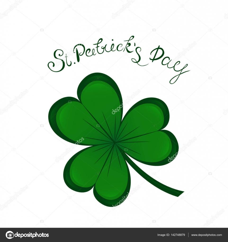st patricks day lettering and green clover shamrock irish hollyday