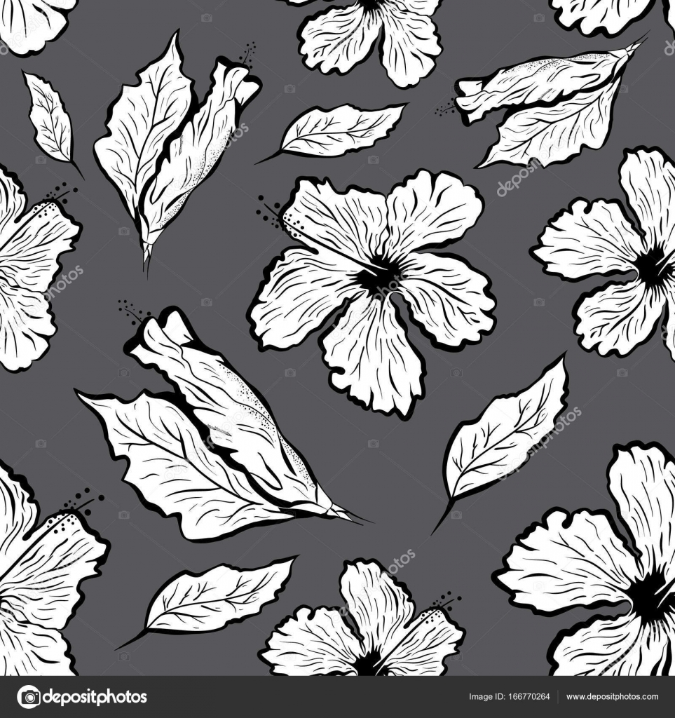 Seamless pattern of hibiscus flower in tattoo style black and white seamless pattern of hibiscus flower in tattoo style black and white graphic tropical flower izmirmasajfo
