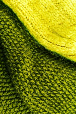 Yellow and green Knitted wool background