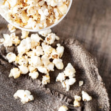 Popcorn on dark background